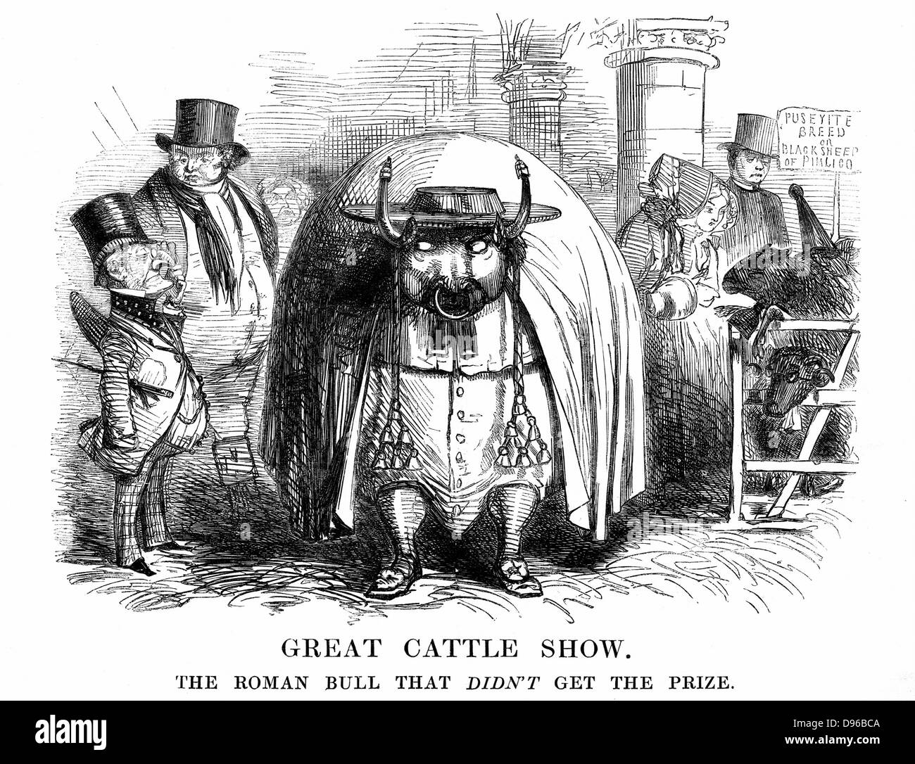 Great Cattle Show'. The Roman Bull that didn't get the prize. Mr Punch and John Bull viewing the Bull (Papal - Stock Image
