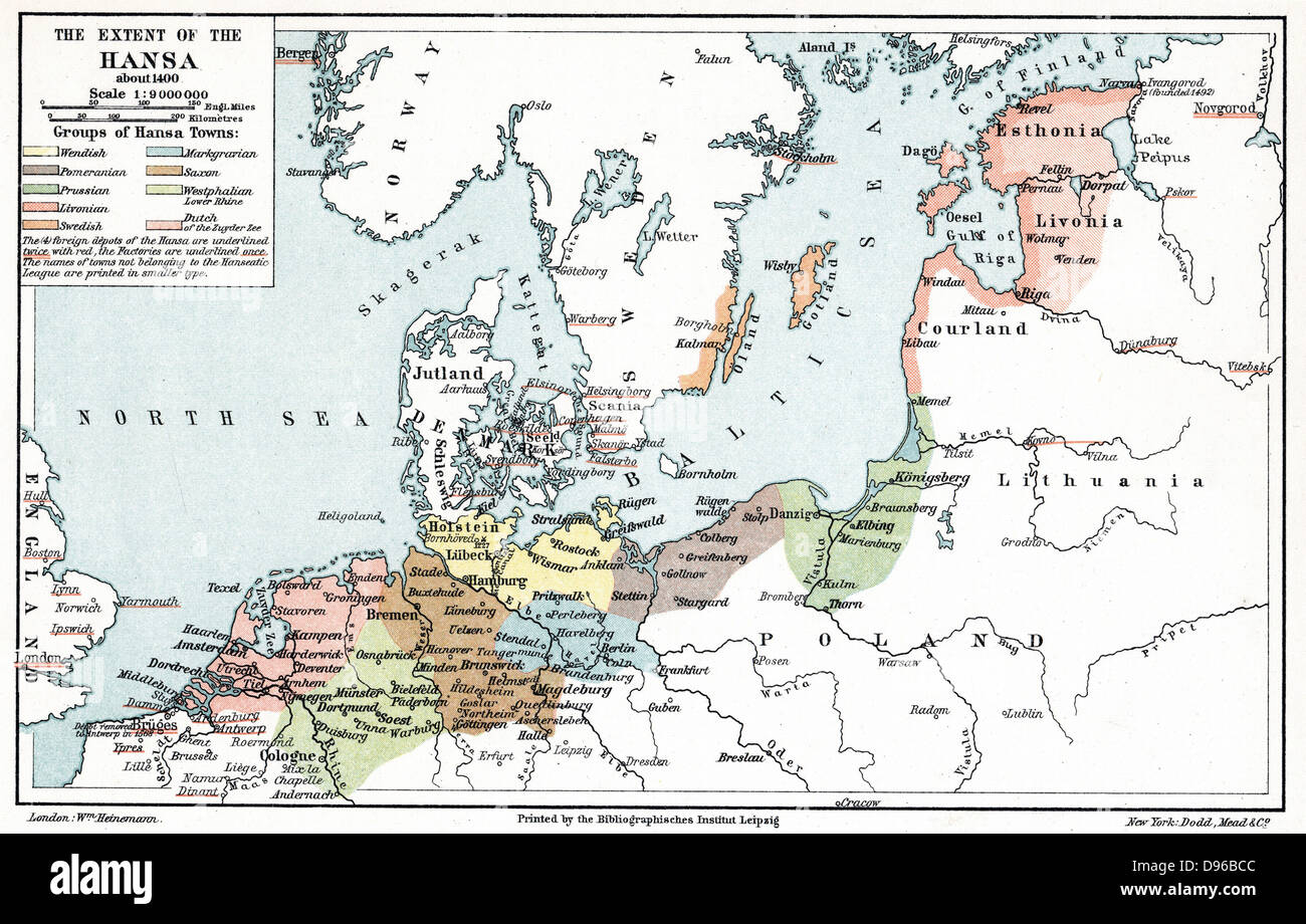 Map of the extent of the Hanseatic League in about 1400 - Stock Image