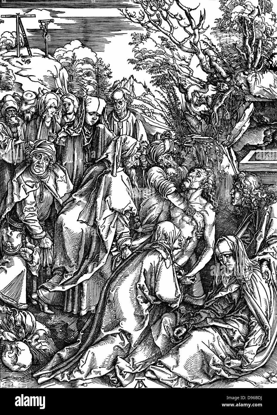 The Entombment.  Woodcut by Albrecht Durer  from his series of seven woodcuts for The Great Passion c1497-1500 - Stock Image