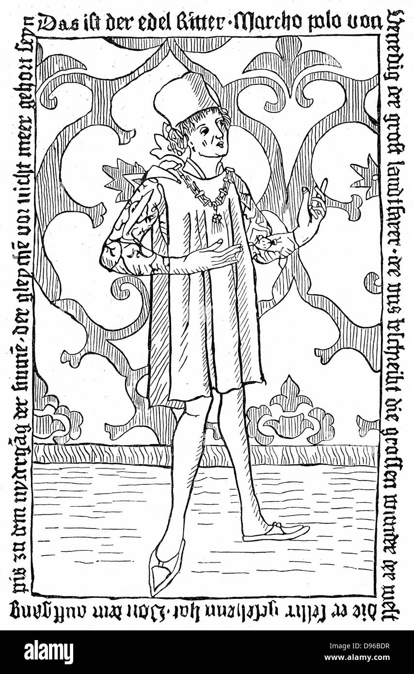 Marco Polo (1254-1324) Venetian merchant and traveller. Undated woodcut. - Stock Image