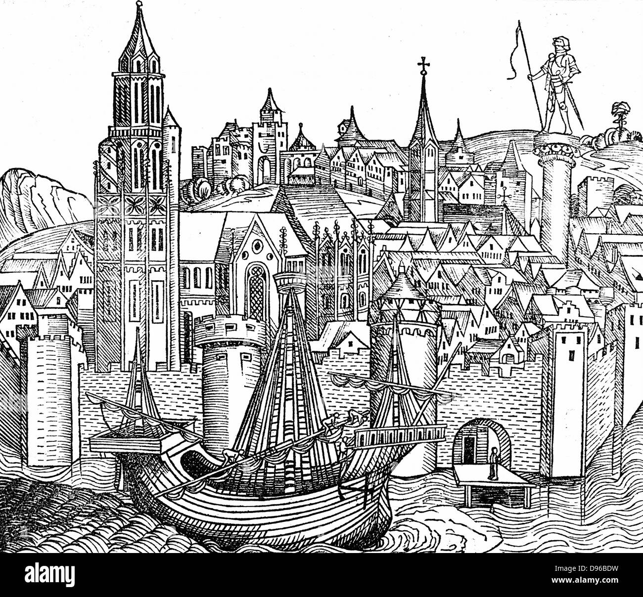 View of fortified city with a Cog, a type sailing vessel, in foreground. Watergate bottom right. From Hartman Schedel - Stock Image