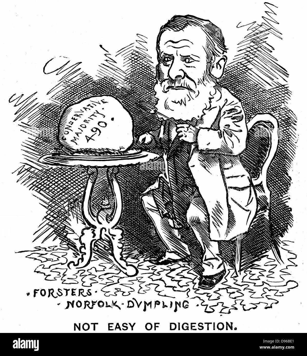 William Edward Forster (1818-1886), British Liberal politician. Cartoon from 'Punch', London, 1879. Engraving. - Stock Image