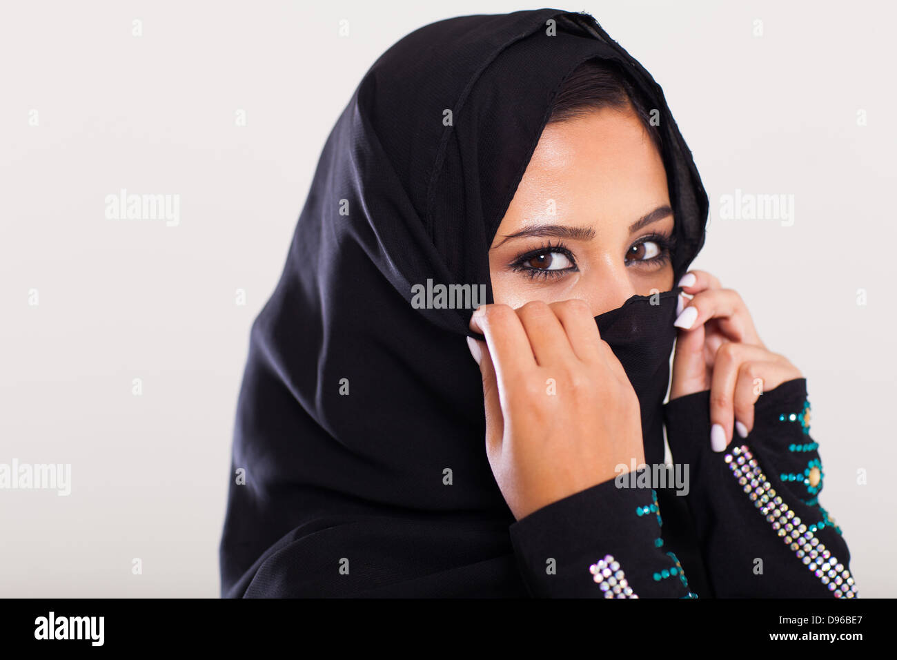 mysterious middle eastern woman closeup portrait Stock Photo