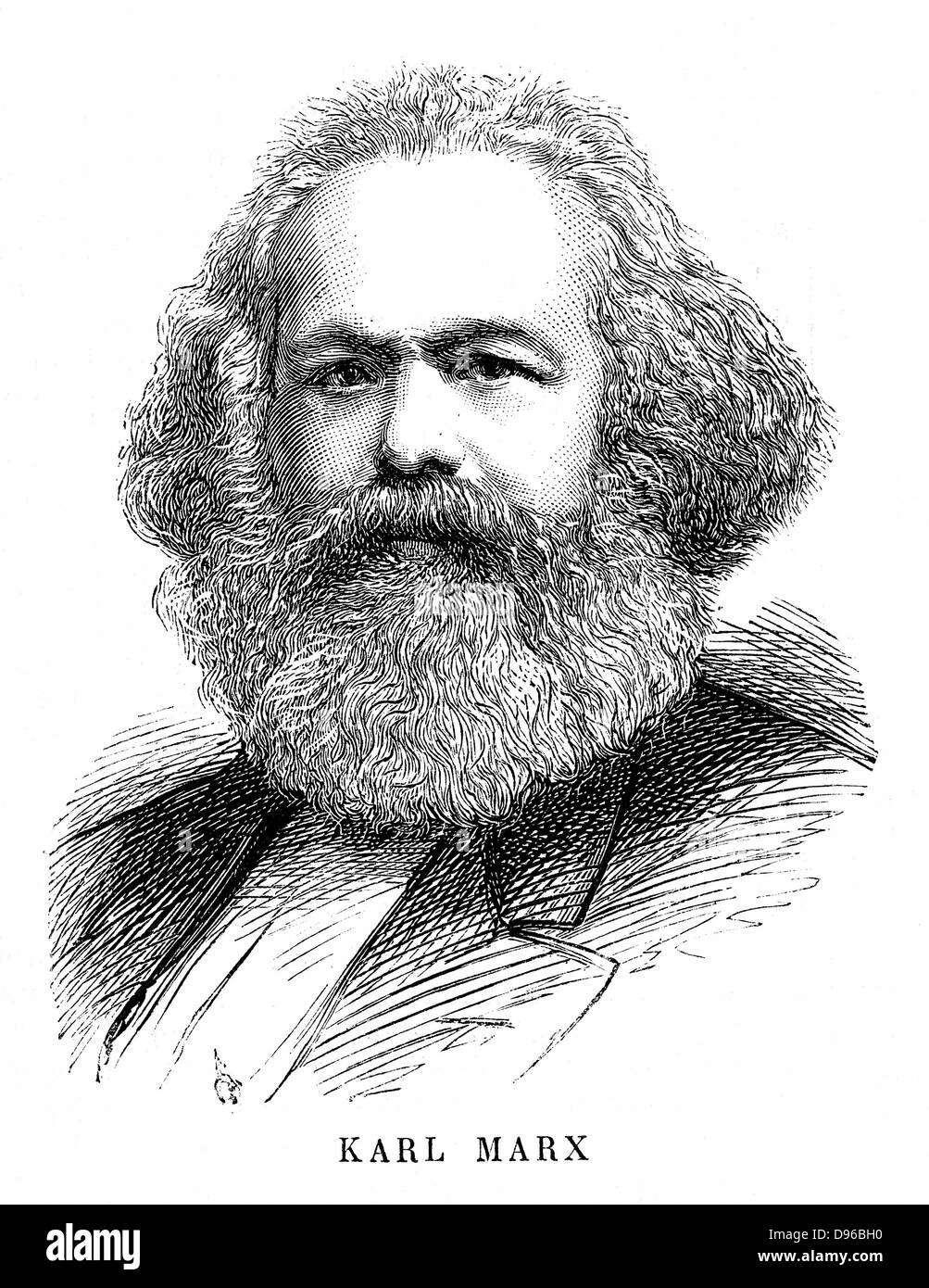 Karl Marx (1818-1883). Father of modern Communism. German political, social and economic theorist. Engraving - Stock Image