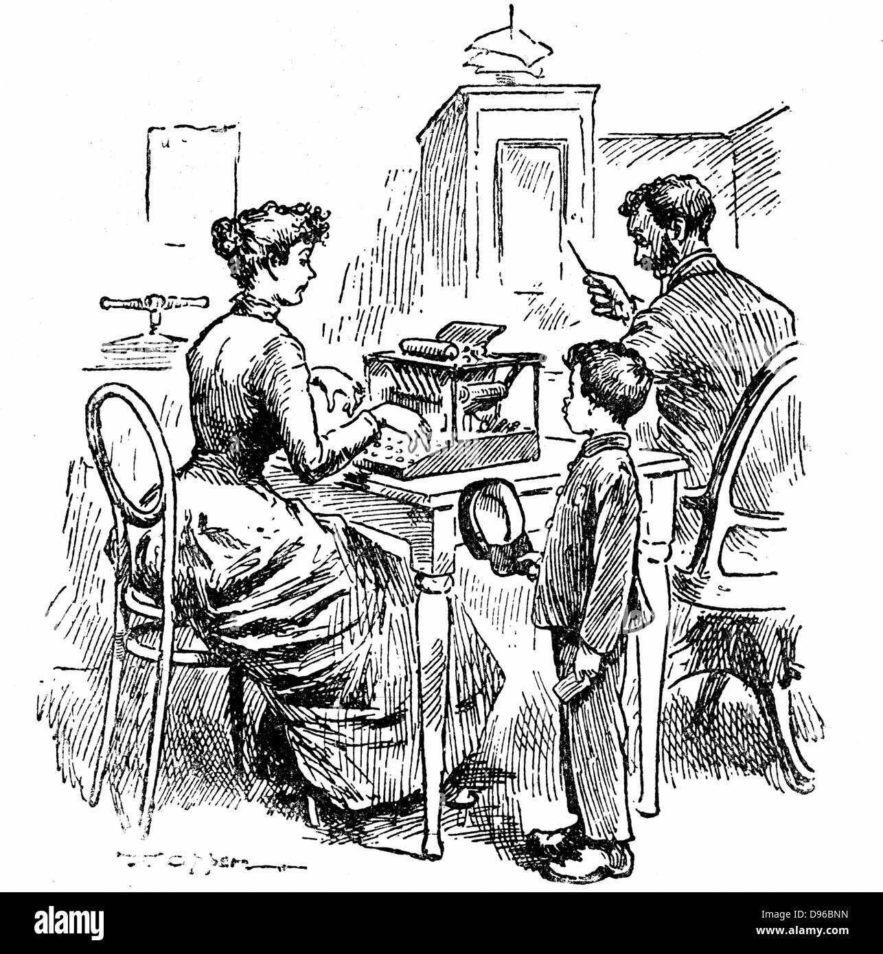 Female typist.  Wood engraving published London 1893 - Stock Image