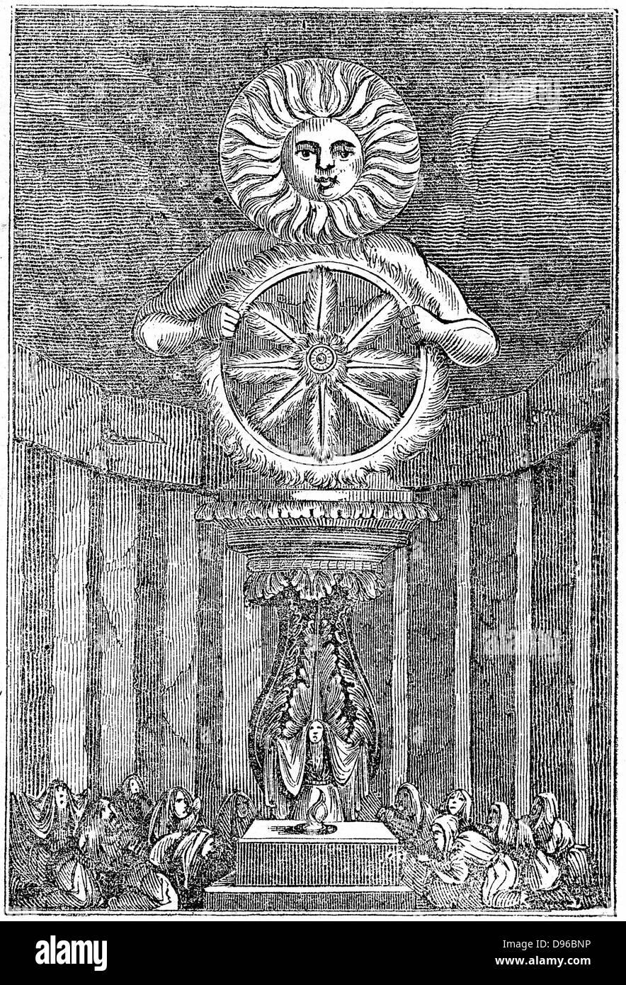 Saxon idol of the Sun. Wood engraving 1834 - Stock Image