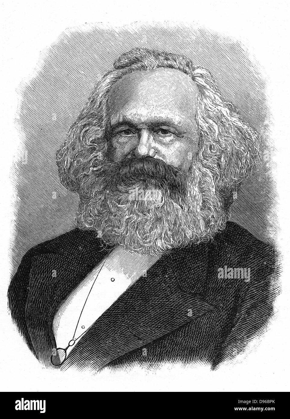 Karl Marx (1818-1883) Father of modern Communism. German political, social and economic theorist. Engraving - Stock Image