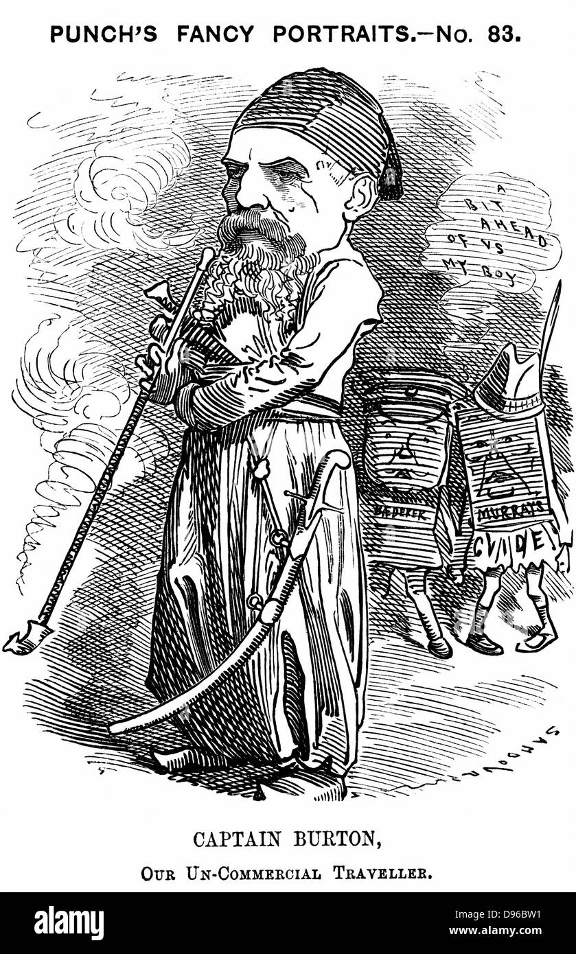 Richard Francis Burton (1821-1890) English orientalist and explorer. Cartoon by Edward Linley Sambourne for 'Punch', - Stock Image