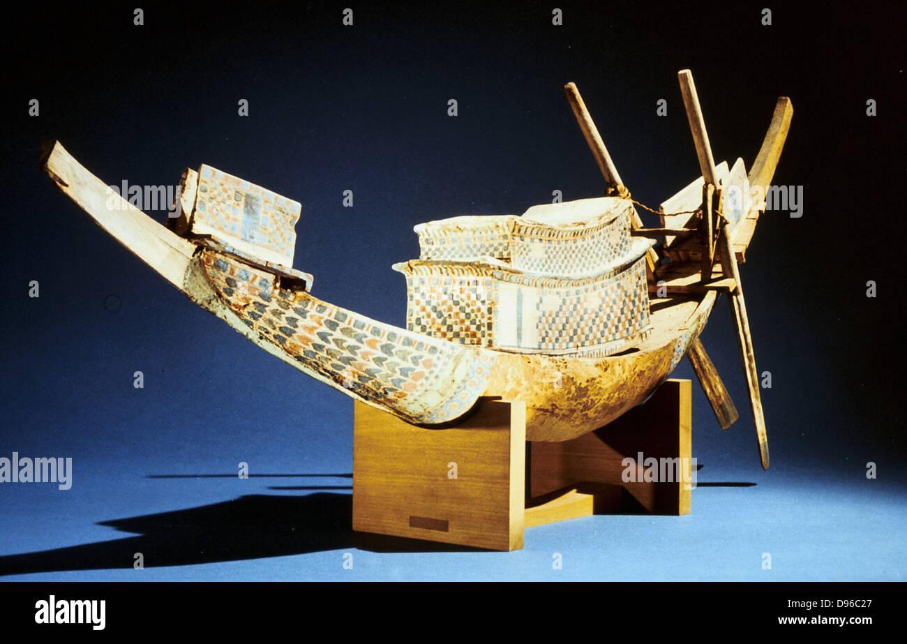 Treasure of Tutankhamun (dc1340 BC): Model of boat. Cairo Museum, Egypt - Stock Image