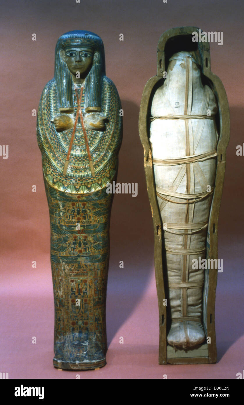 Mummy and mummy case of a princess. 21st Dynasty. Thebes. British Museum, London - Stock Image