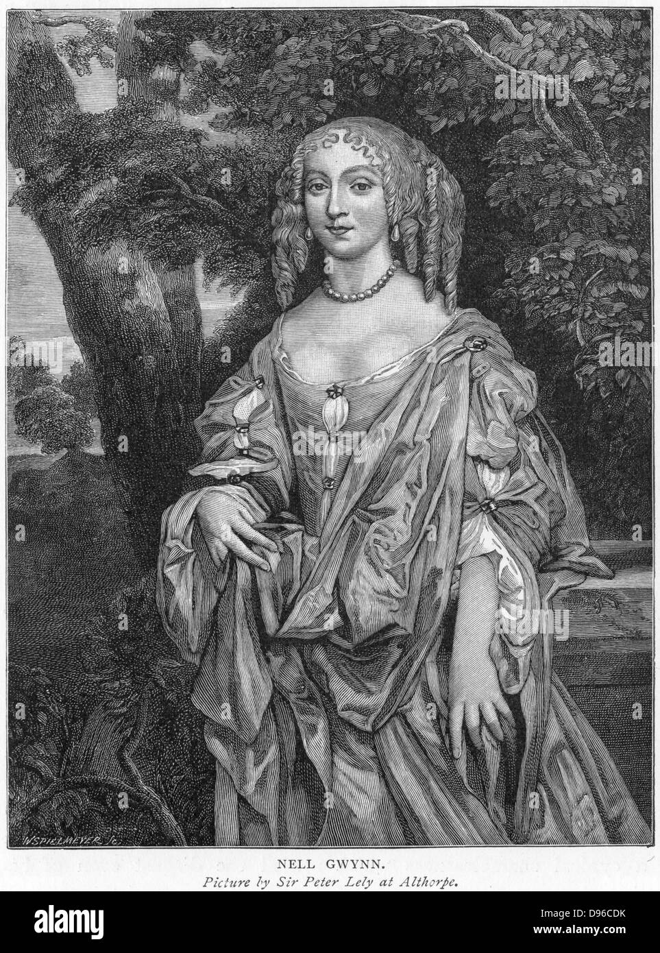 Nell Gwyn (c1650-1687), English comic actress: mistress of Charles II.  Engraving. - Stock Image