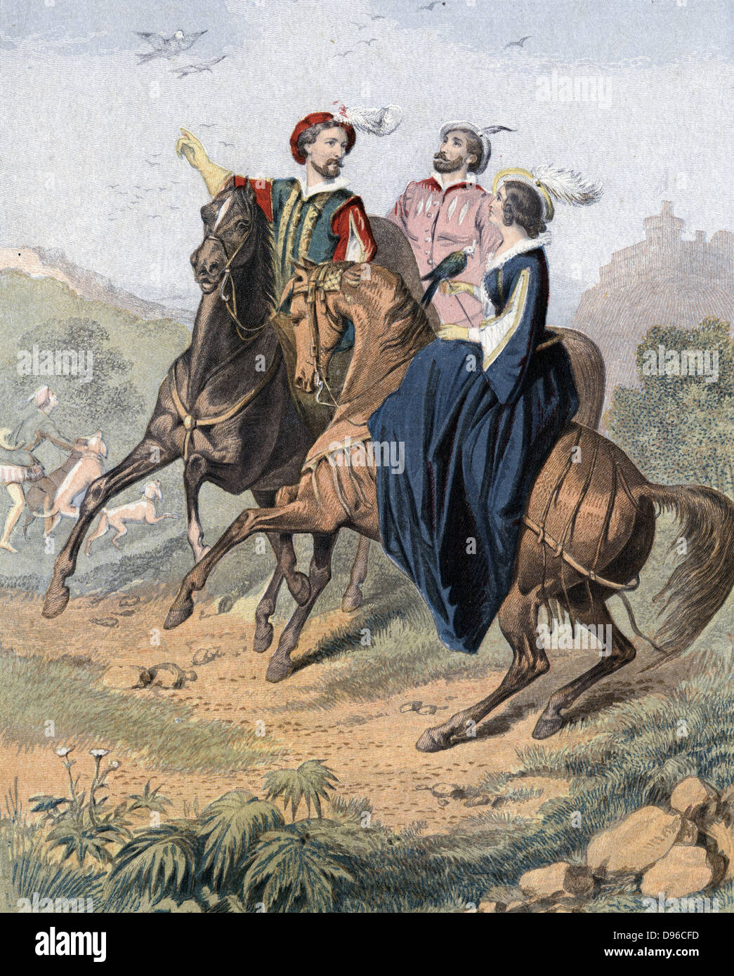 Falconry: artist's impression of late 16th century party out hawking. Woman, with falcon is riding side-saddle. - Stock Image