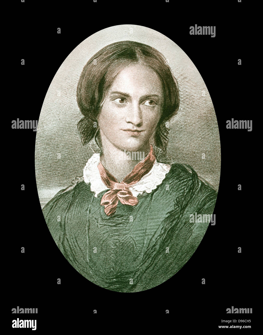Charlotte Bronte (1816-1855) English novelist. After portrait by George Richmond. Author of 'Jane Eyre' (1847), Stock Photo