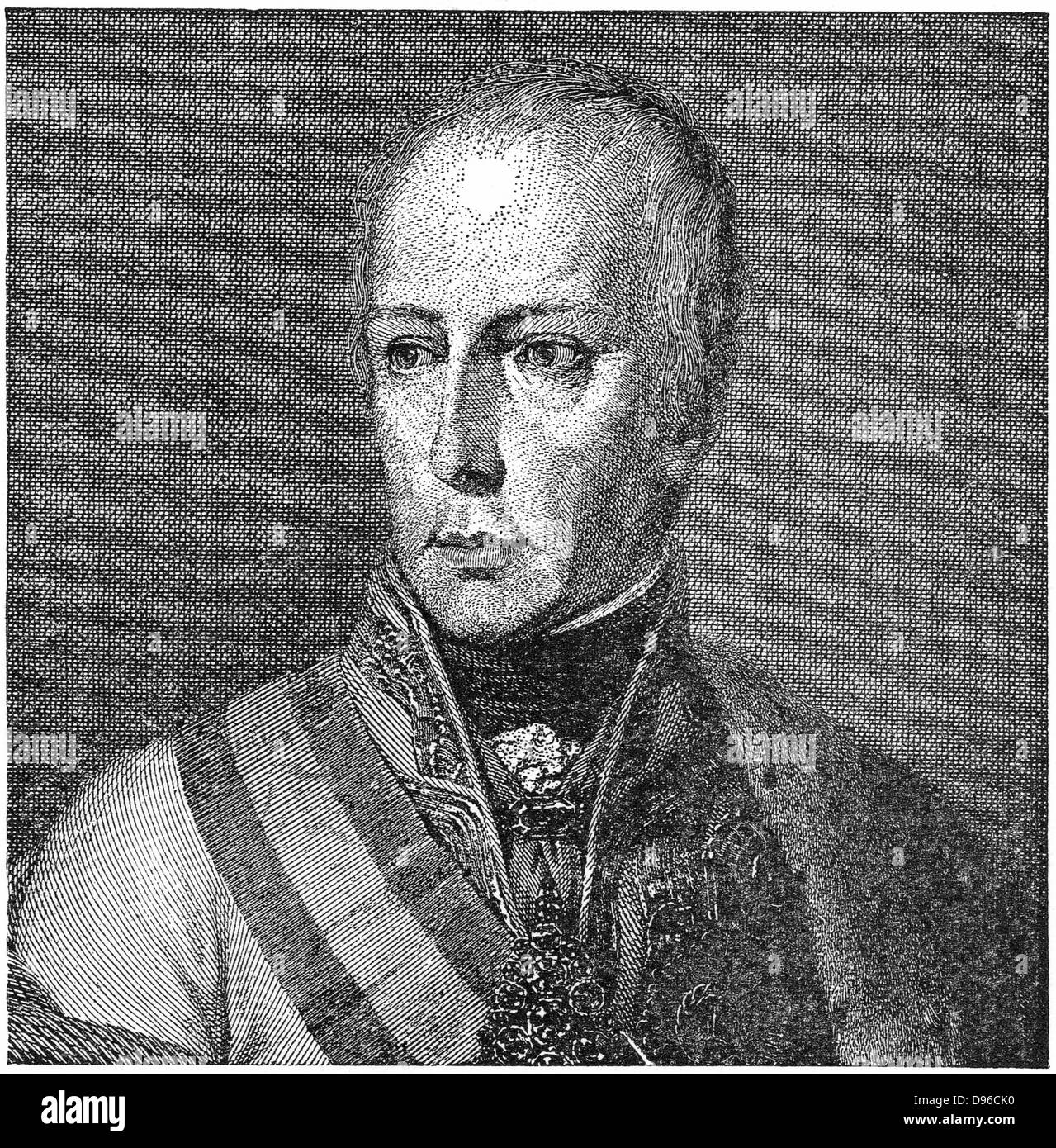 Francis II (1768-1835) Holy Roman Emperor from 1792. Francis I of Austria. Engraving. - Stock Image