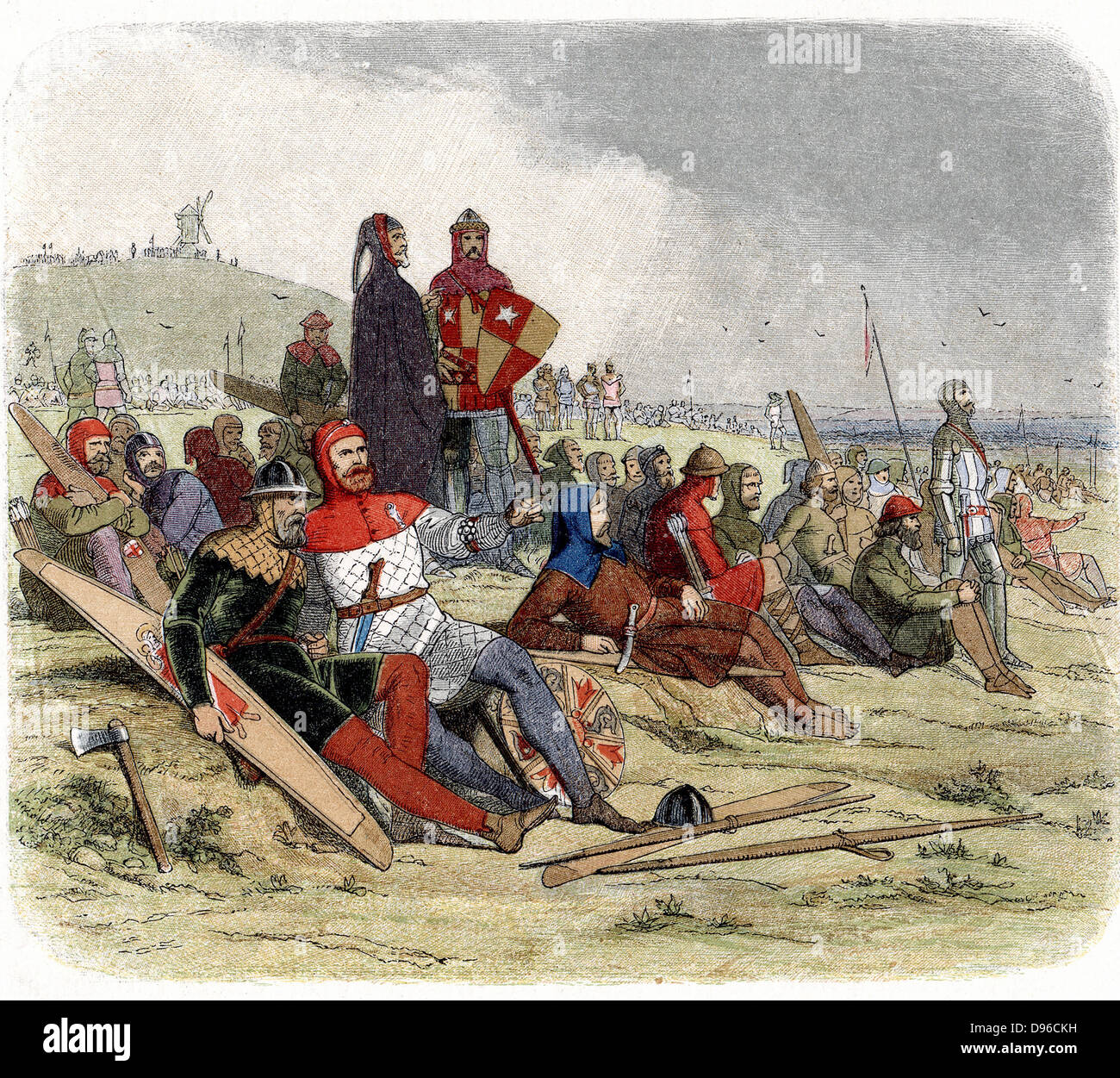 Hundred Years War between England and France. English troops waiting to go into action at the Battle of Crecy, August Stock Photo