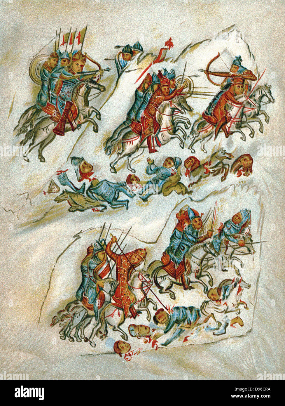 Russians routing Bulgarians in cavalry skirmish. Chromolithograph from 10th century Sclavonian manuscript in the - Stock Image
