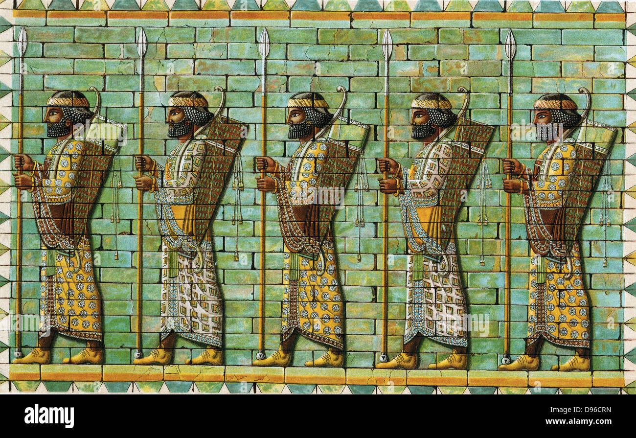 The Immortals. Bodyguard of Persian Kings. Frieze from audience hall of citadel of Darius I (548-486 BC) at Susa. - Stock Image