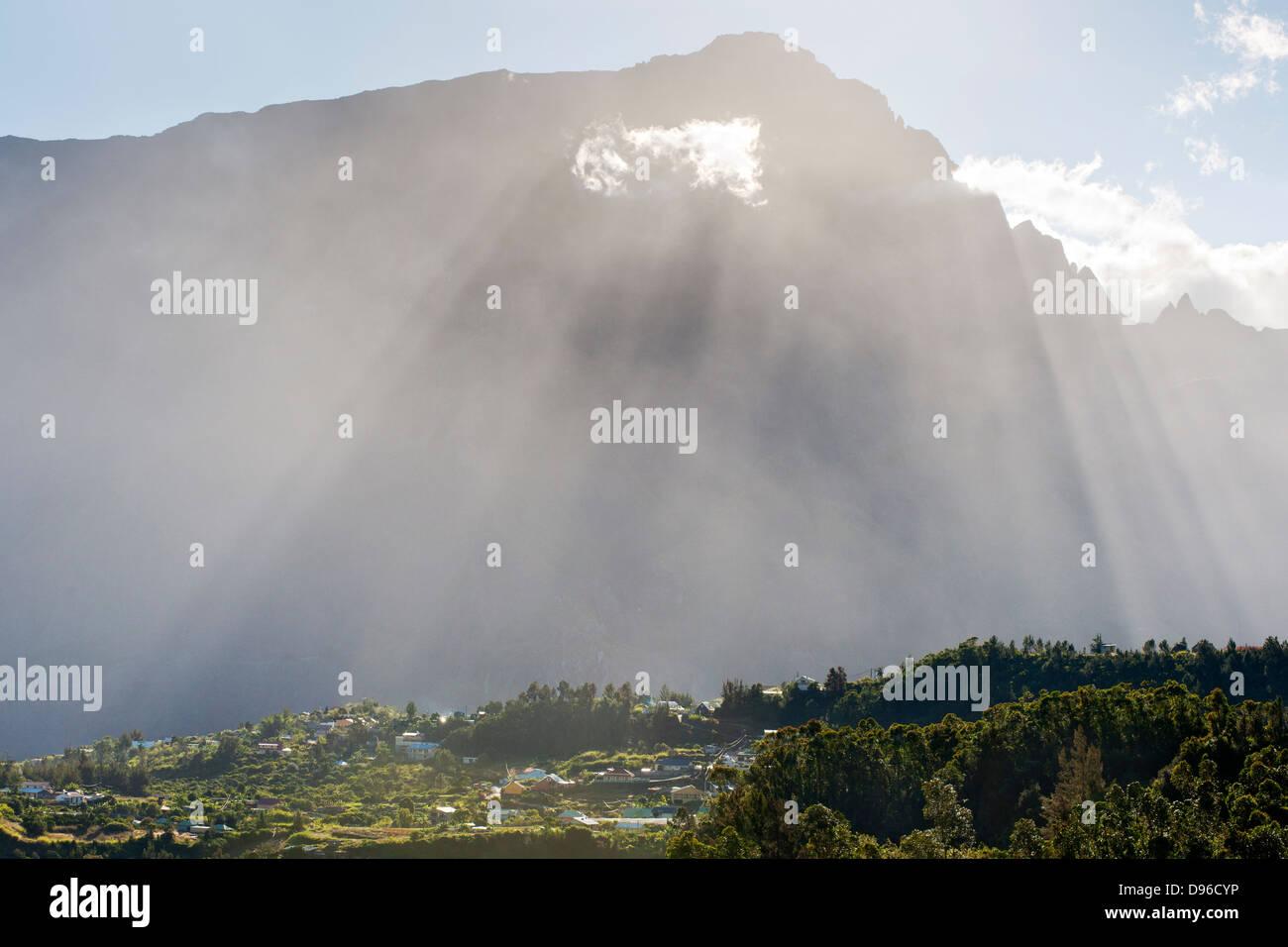 The village of Cilaos in the Cirque de Cilaos caldera on the French island of Reunion in the Indian Ocean. - Stock Image