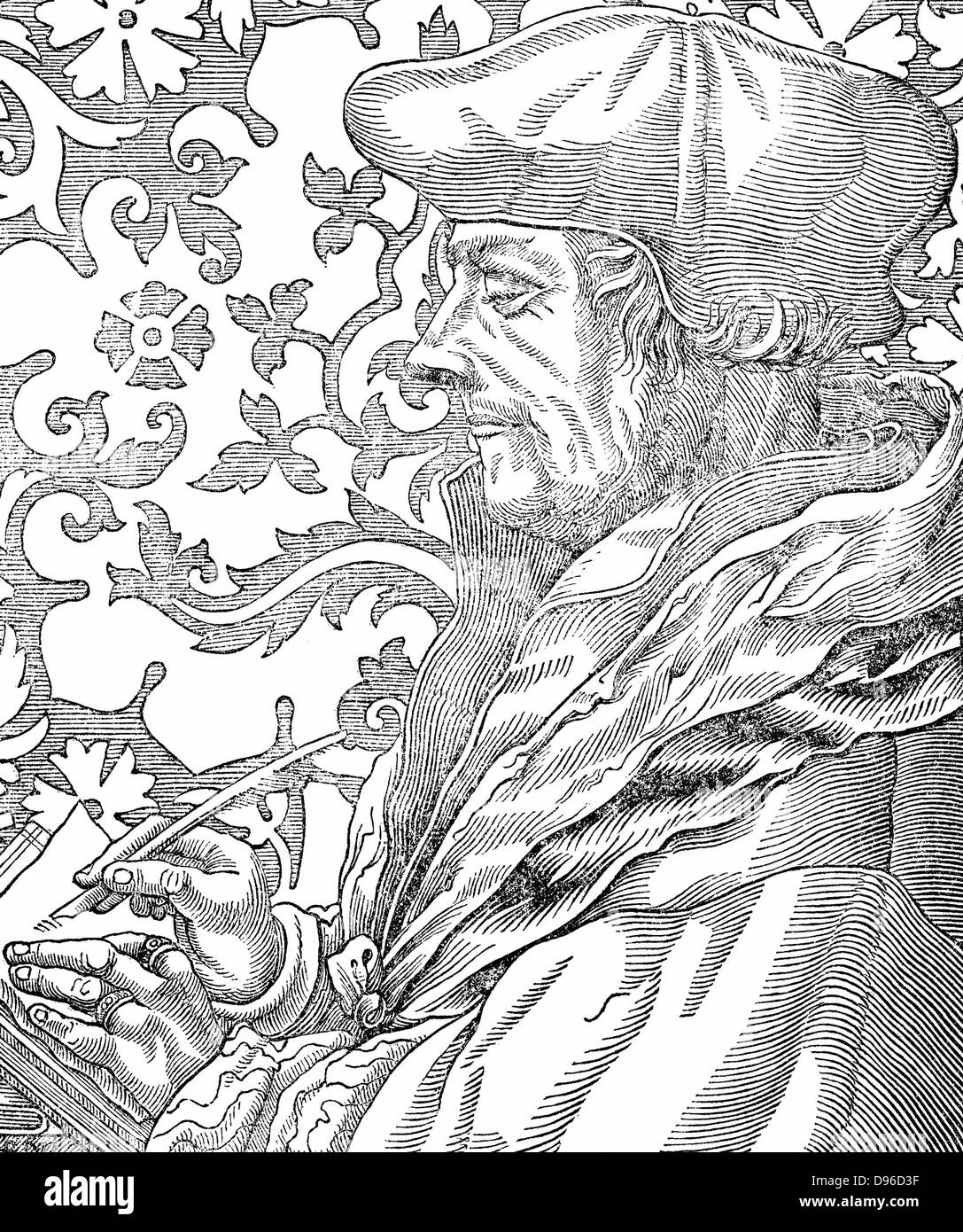 Desiderus Erasmus (1465-1536) Dutch humanist and scholar.  Engraving after Holbein. - Stock Image