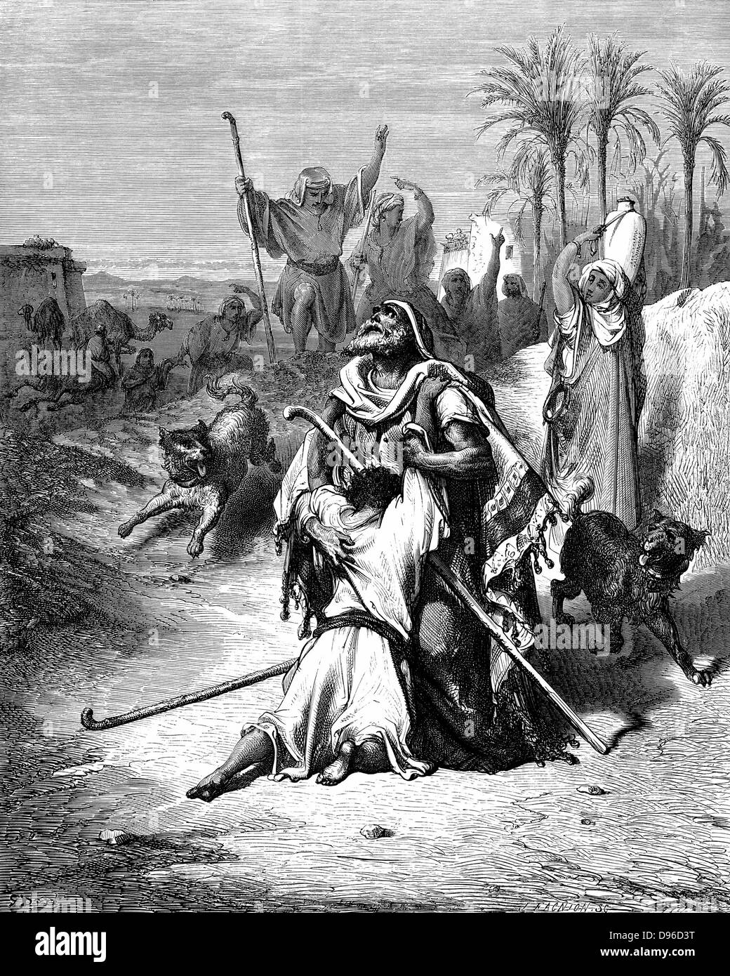 Return of the Prodigal Son 'Bible' Luke 15:20. From Gustave Dore illustrated 'Bible' 1865-6. Wood - Stock Image