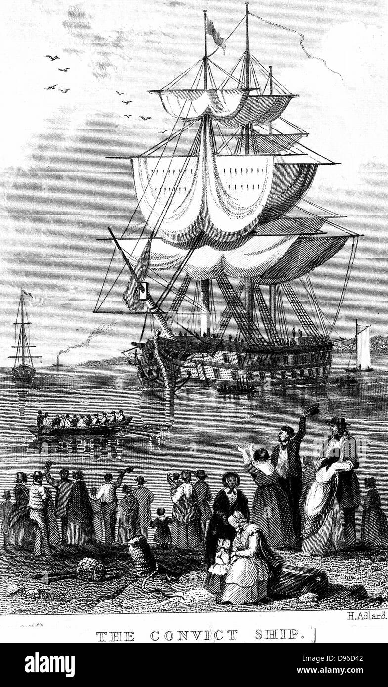 Transportation: Convict ship ready to sail from England to Australia, parts of which Britain used as a penal colony. Stock Photo