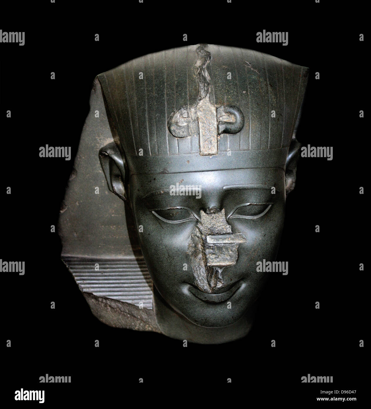 Head from a statue of a king. Thirtieth Dynasty, about 370 BC. This royal head is an example of the very fine quality - Stock Image