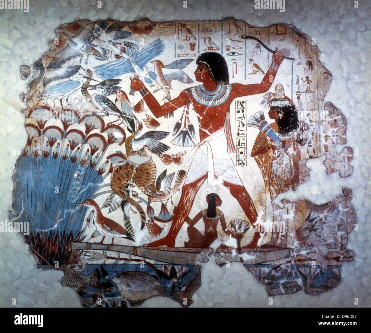 Ancient Egyptian hunting wildfowl with a throwing stick. Picture shows Papyrus reed bed with fish and birds. Papyrus - Stock Image