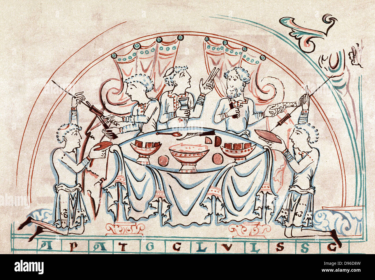 Banquet. Chromolithograph after 11th century English Psalter - Stock Image