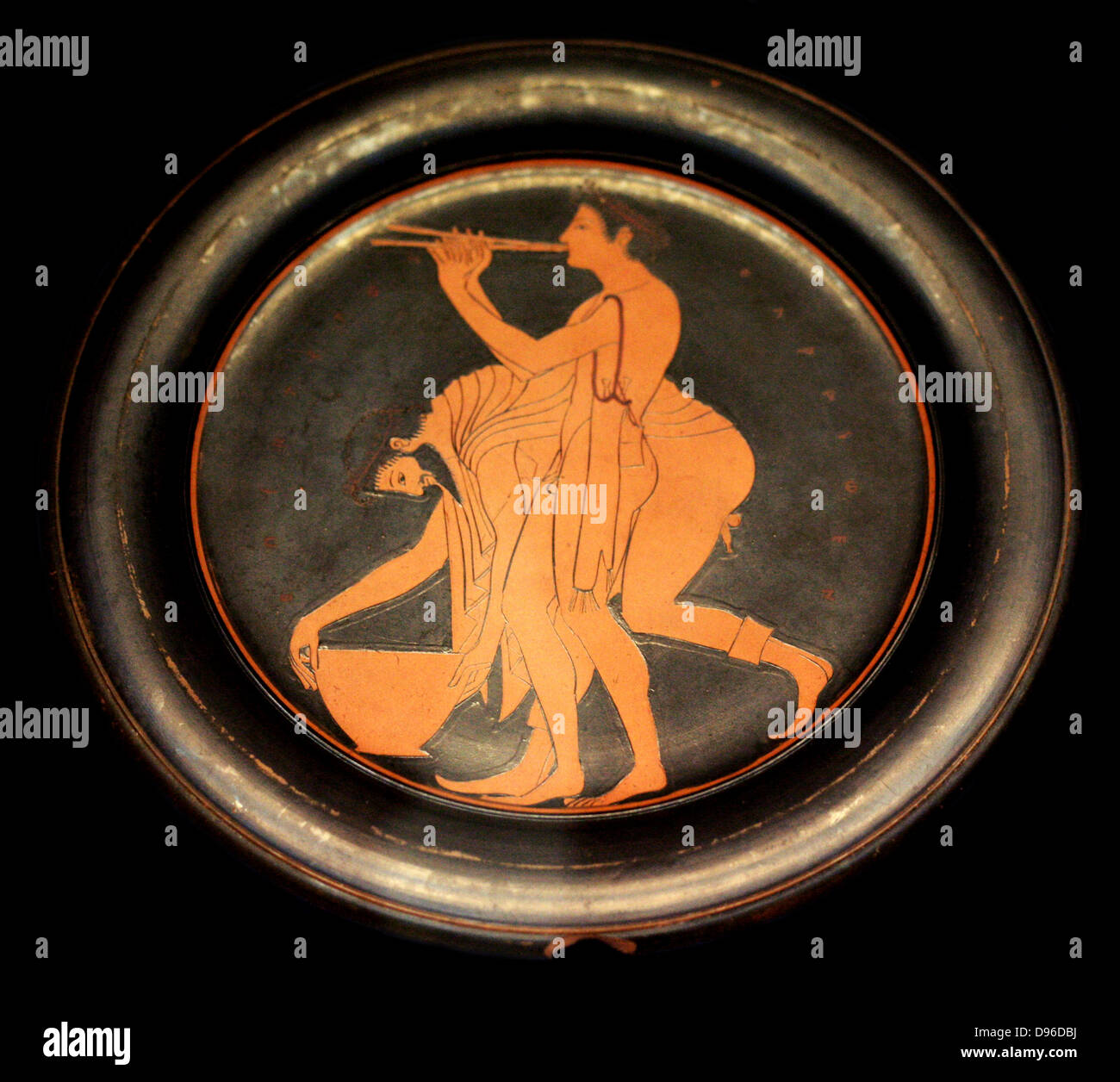 Plate signed by Epikleitos as painter. Epikleitos was a pupil of the first painters to use the red figure technique, - Stock Image