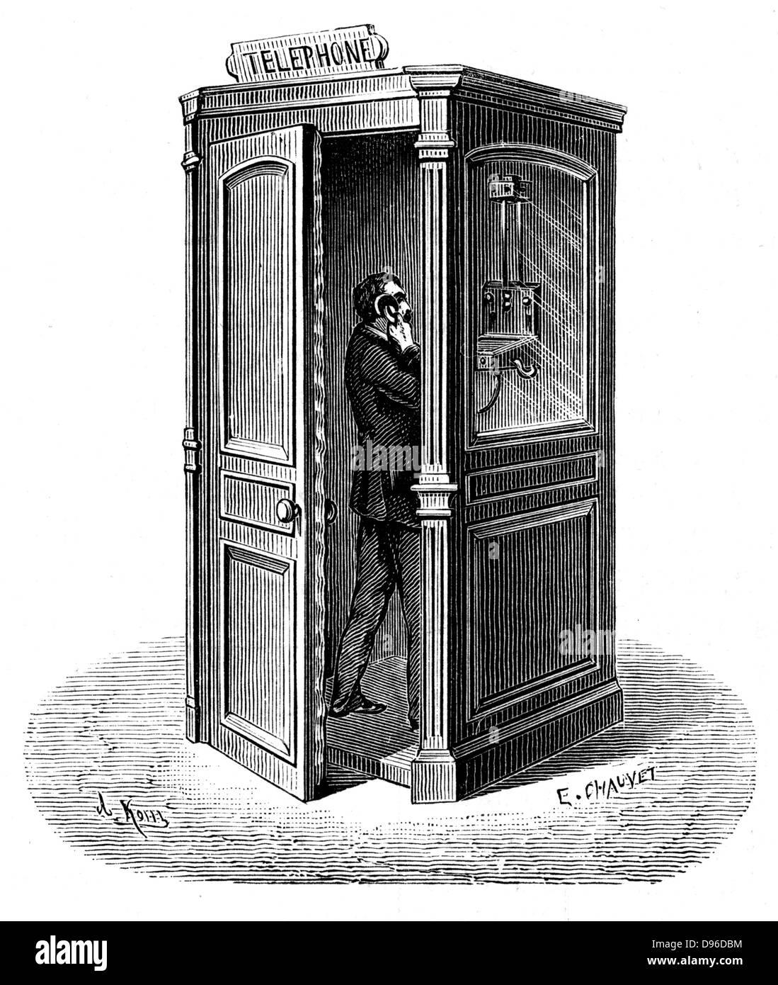 Telephone call box. Engraving published Paris 1888 - Stock Image