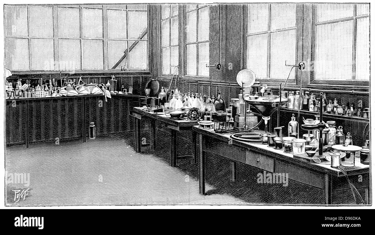 Part of Pierre and Marie  Curie's laboratory, Paris. Engraving published 1904. - Stock Image