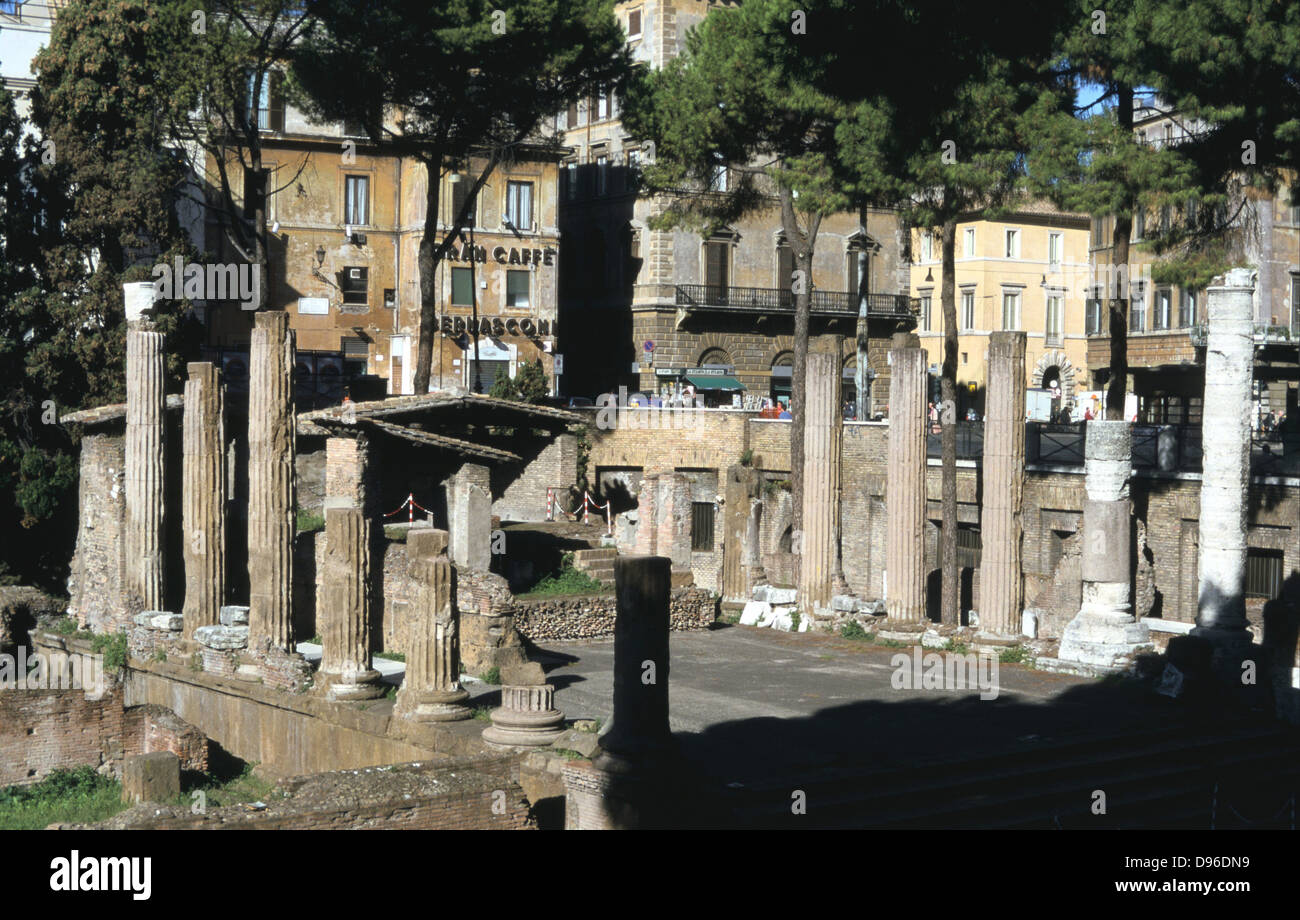 Largo di Torre Argentina, a square in Rome, Italy, that contains the remains of four Republican Roman temples, and - Stock Image
