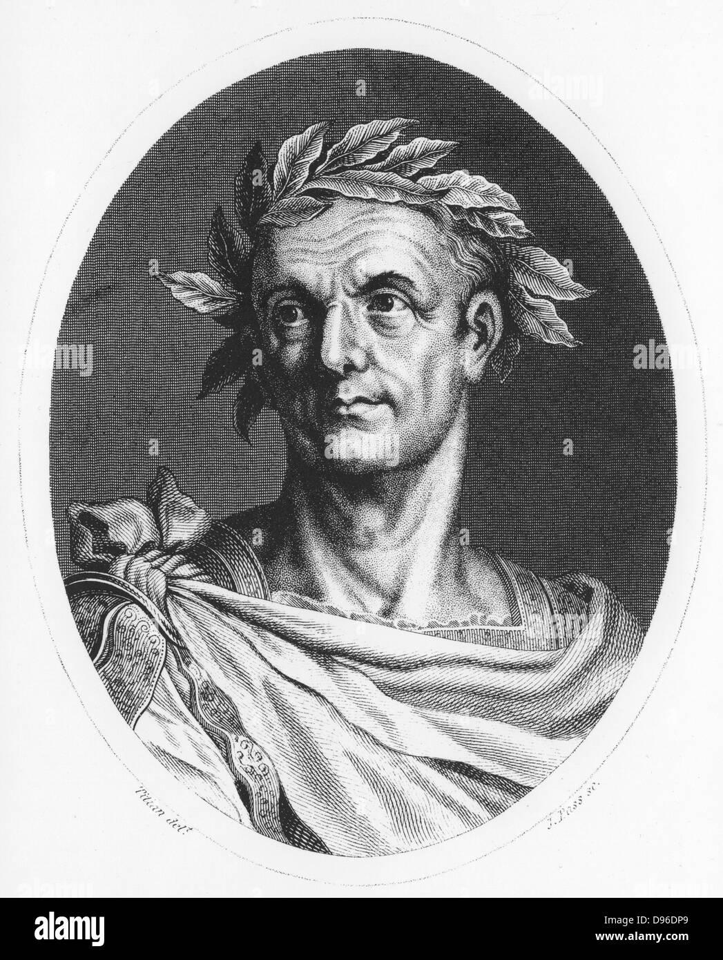 Julius Caesar (100-44 BC) Roman soldier and statesman. Engraving c1825. - Stock Image