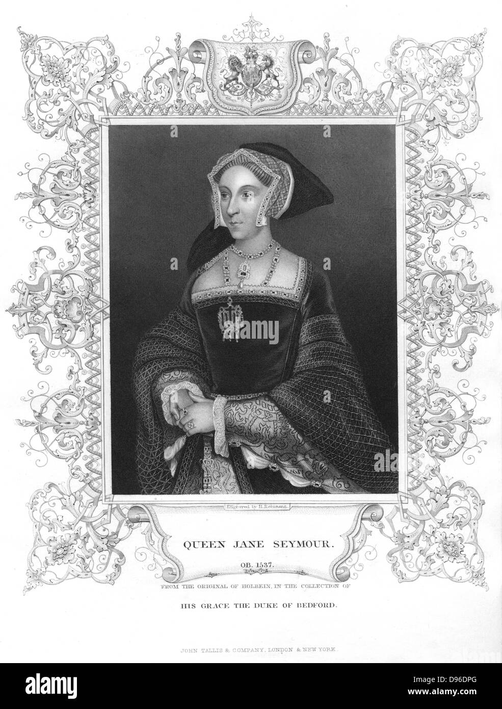 Jane Seymour (1509-1537) queen of England, third wife of Henry VIII. Mother of Edward VI, she died twelve days after - Stock Image