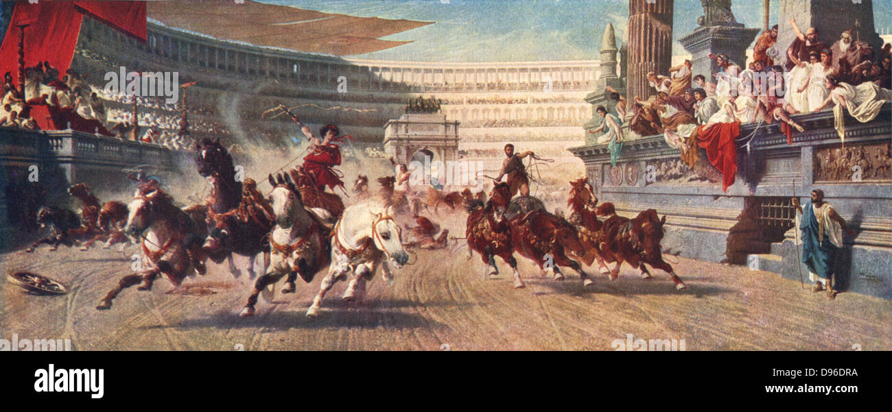 Chariot race in Ancient Rome, late 19th century illustration. Bread and circuses were two methods used to keep Emperors - Stock Image