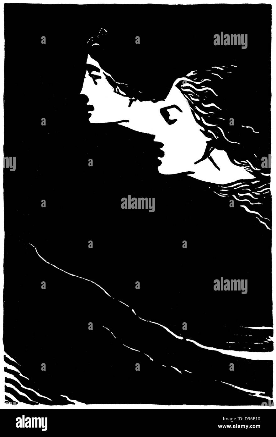 Paolo and Francesca' Early 20th century illustration for the poem by Dante Alighieri (1265-1321), Italian poet. - Stock Image