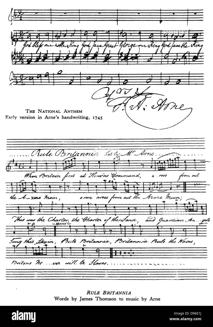 Thomas Augustine Arne (1710-1778). Top: A version of the British National Anthem in Arne's hand.  Bottom: 'Rule - Stock Image