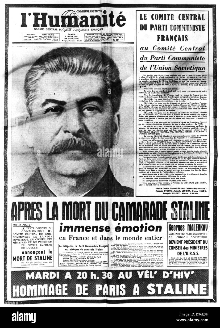 Title page of 'l'Humanite', Paris, 7 March 1953 reporting on the death of Joseph Stalin (1879-1953) - Stock Image