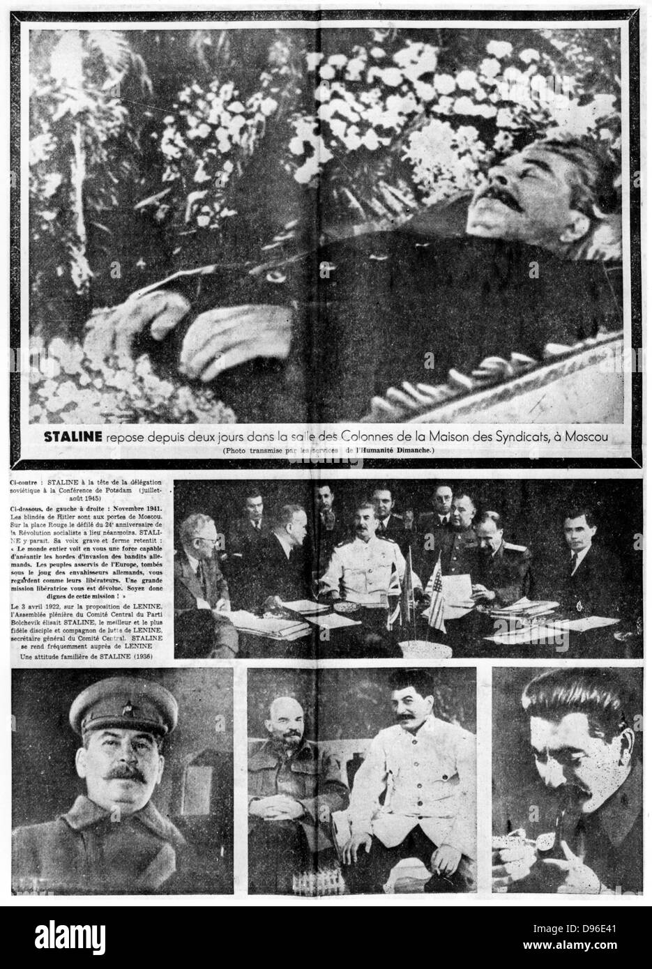 Spread of 'l'Humanite', Paris, 7 March 1953 reporting on the death of Joseph Stalin (1879-1953) Russian - Stock Image