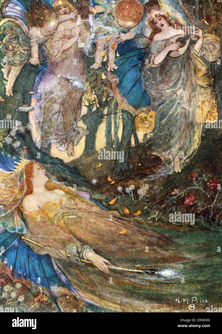 The sleep of Titania, Queen of the Fairies. Mid-nineteenth illustration of the play 'A Midsummer Night's - Stock Image