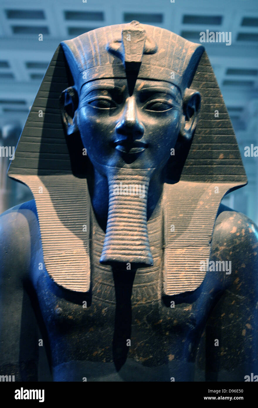Statue of king Amenhotep III. 18th Dynasty, about 1400 BC from Thebes The king is represented in classic pose and - Stock Image