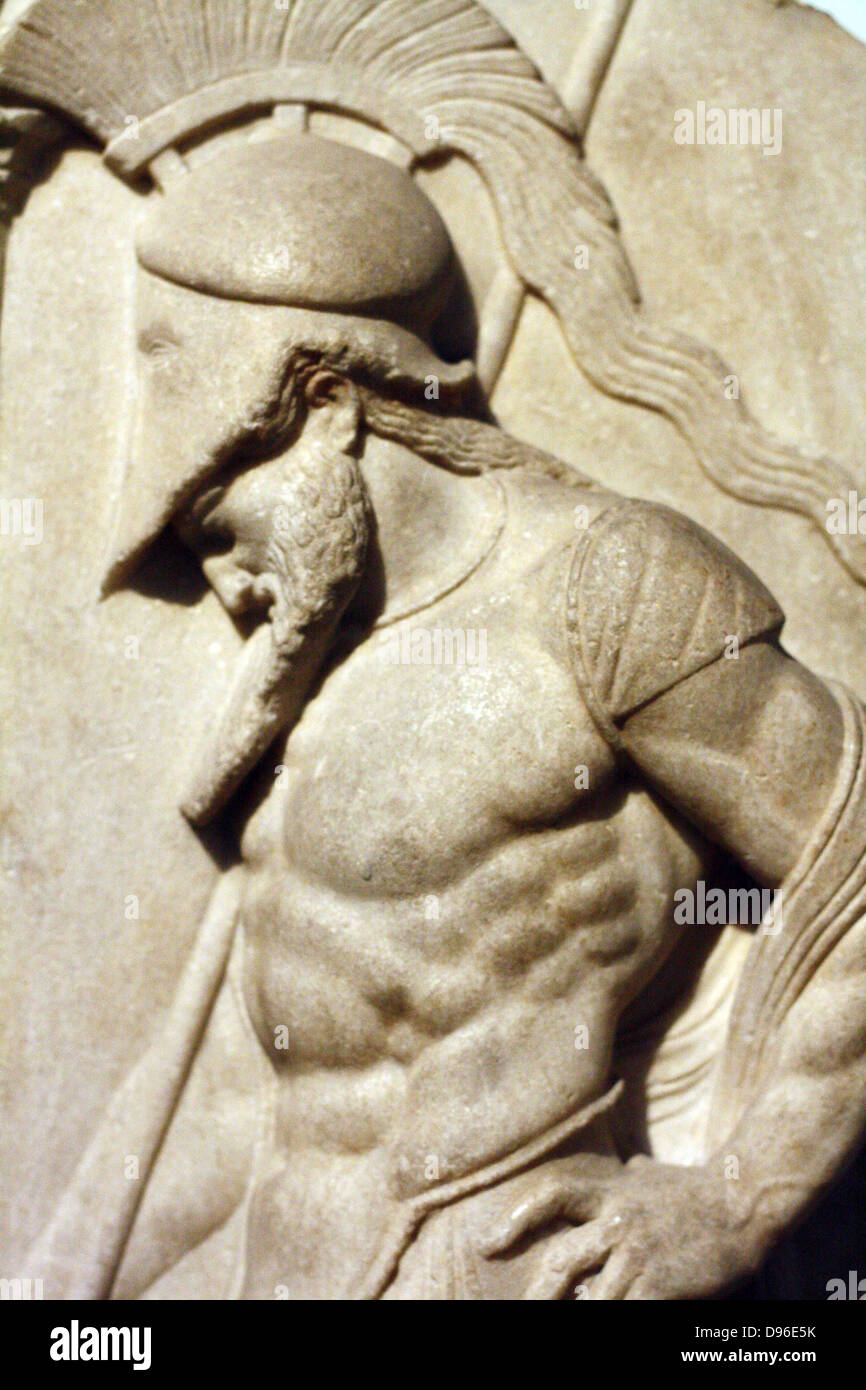 Greek warrior. Hellenistic, 1st century BC From Rhodes This marble grave relief shoes a warrior dressed in a cuirass - Stock Image