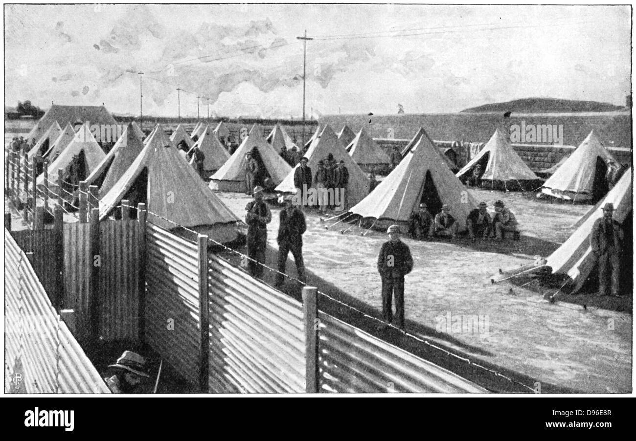 Boer prisoners in camp at Bloemfontein. 2nd Boer War 1899-1902. - Stock Image