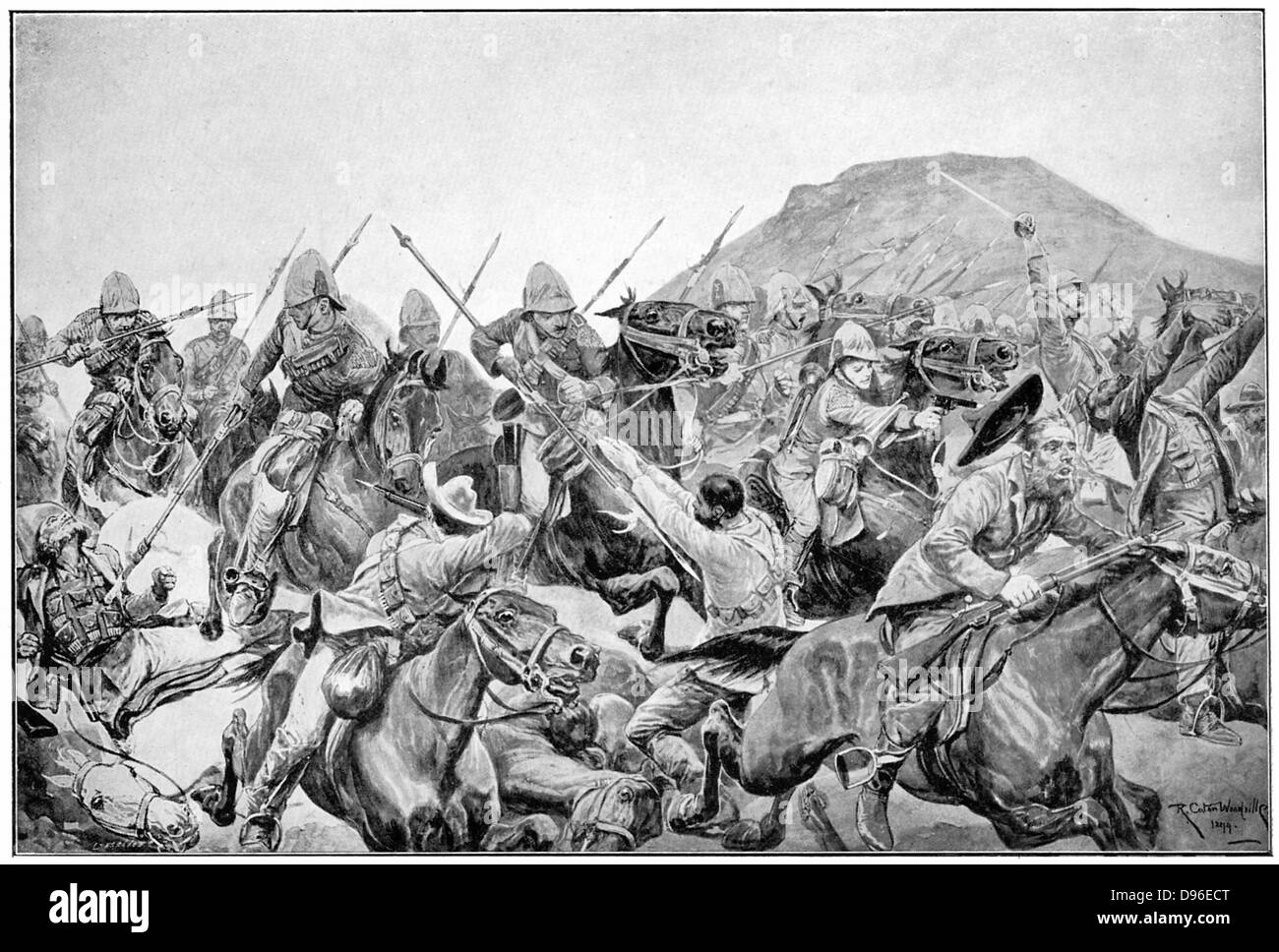 Charge of the 5th Lancers at the Battle of Elandslaagte. After drawing by R. Caton Woodville. Boer War. - Stock Image
