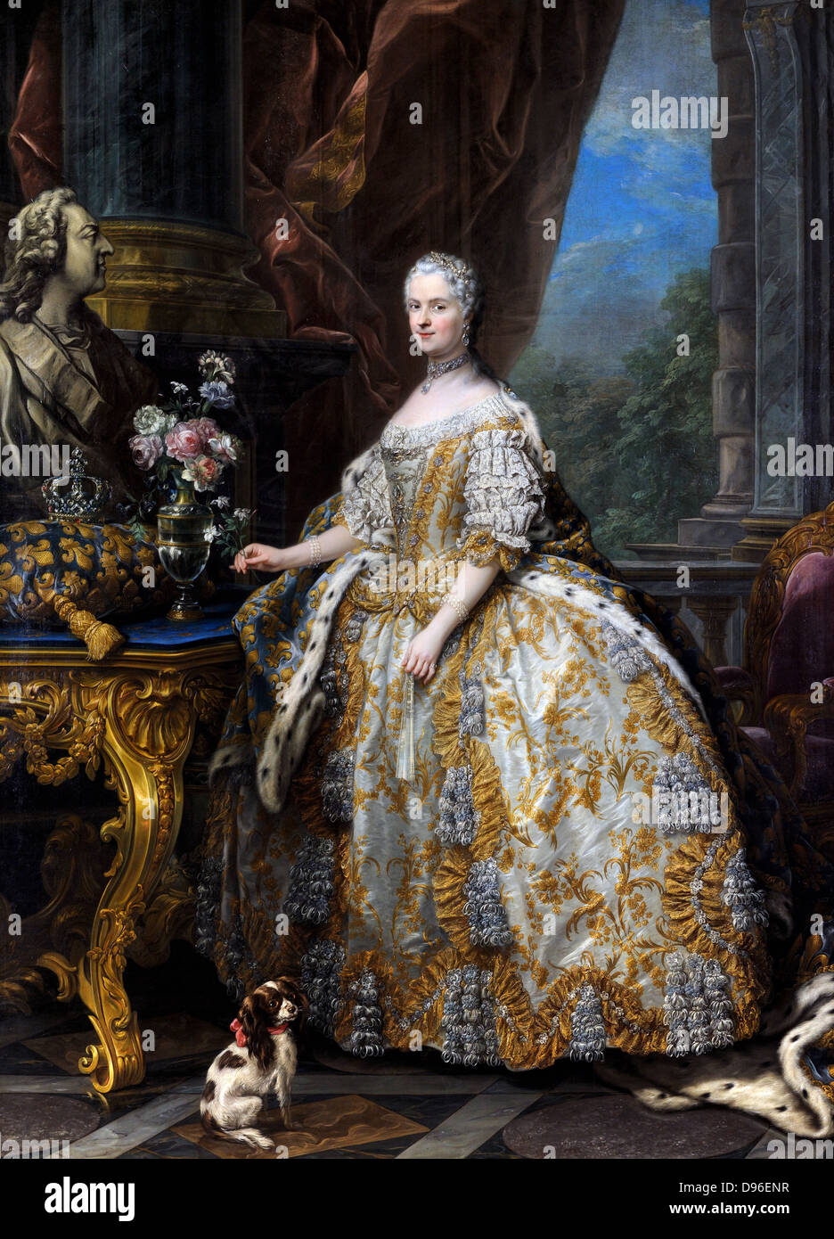 Painting of Marie Leszczinska Queen of France (1703-1768). By Charles-André van Loo, 1747. Oil on canvas. On - Stock Image