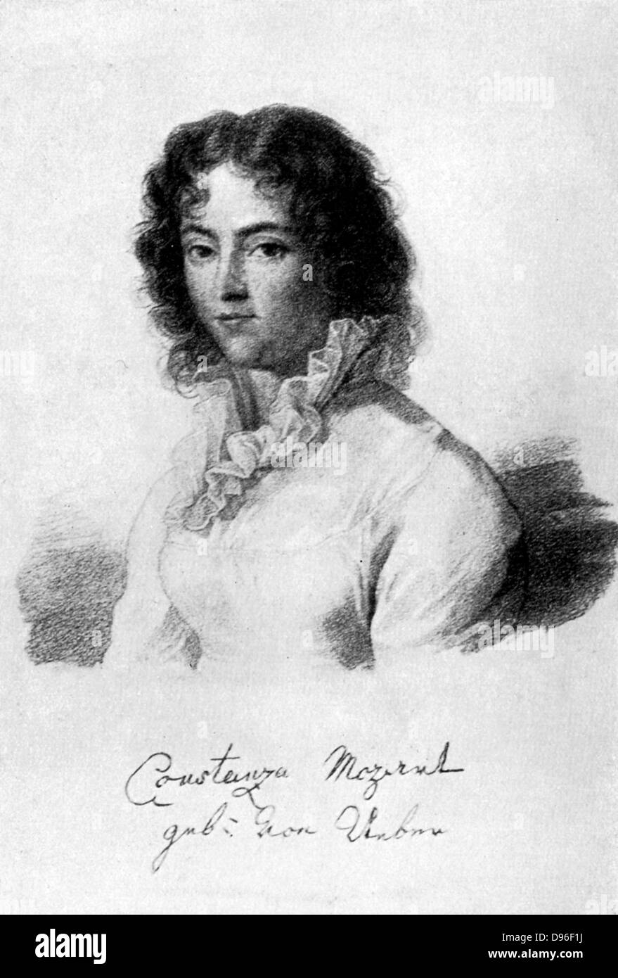 Constanza Mozart, 1783.  Born Constanza Weber, she  married Wolfgang Amadeaus Mozart in 1783. - Stock Image