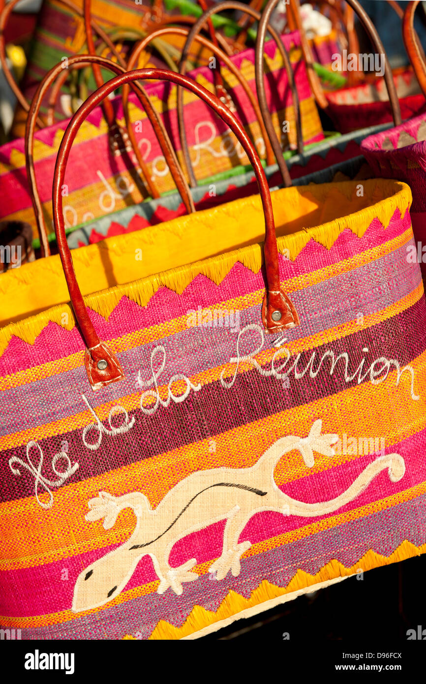 Bags for sale at the market in the village of St Paul on the French island of Reunion in the Indian Ocean. - Stock Image