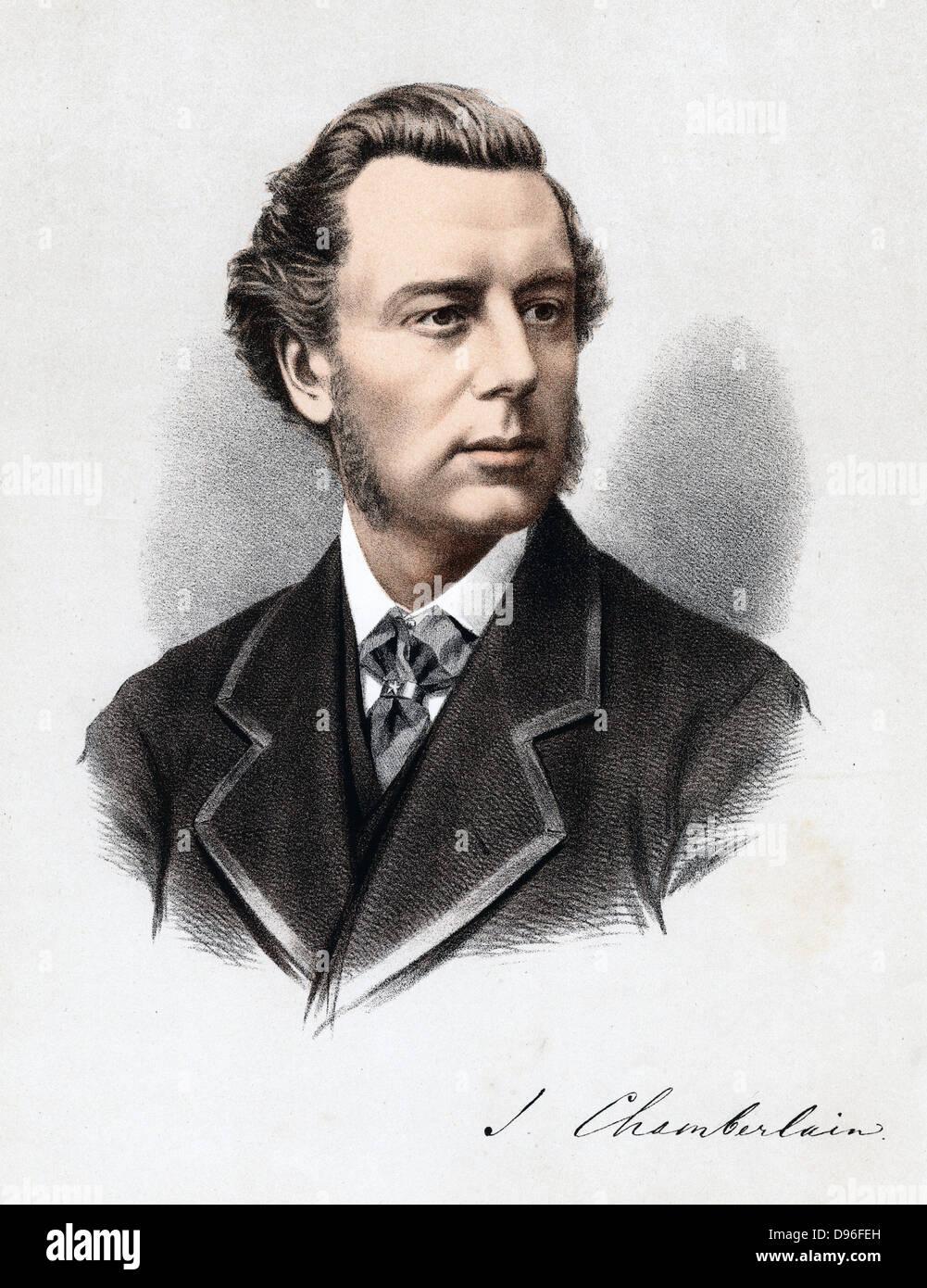 Joseph Chamberlain (1836-1914) British Liberal statesman. Tinted lithograph published c1880 Stock Photo