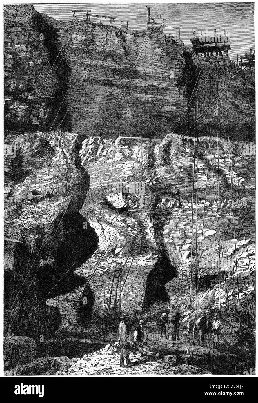 Diamond mine, Kimberley. In 1887 and 1888 Cecil Rhodes amalgamated the diamond mines around Kimberley, which included - Stock Image