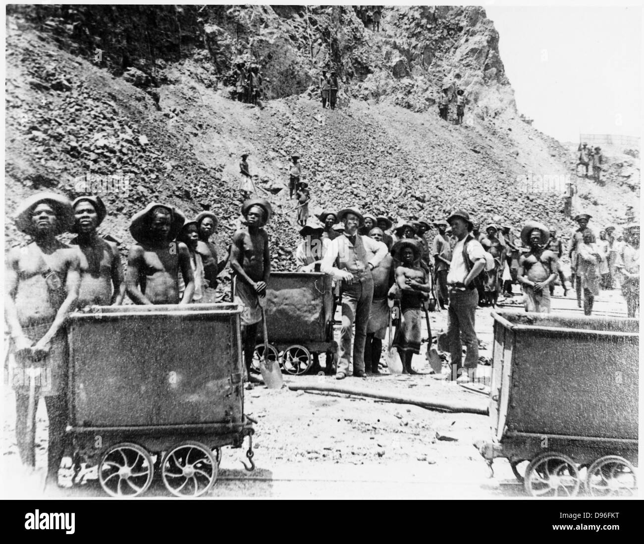Zulu 'boys' at De Beers diamond mines. From photograph taken c1885. In 1887 and 1888 Cecil Rhodes amalgamated - Stock Image